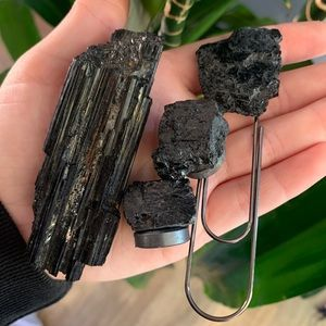 Black Tourmaline Bundle Stone Set Bookmark, Magnet